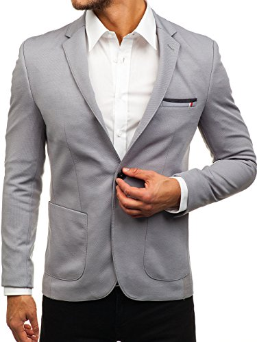 BOLF Herren Sakko Sweatjacke Slim Fit Blazer Anzug RIPRO 1652 Grau L [4D4]