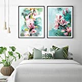 HYY-YY Abstrakte rosa Blumen Leinwand Wandkunst Malerei