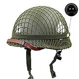 Replica WW2 US Army M1 Casco Steel Field Green, con Cubierta De Red Y Correa para La Barbilla, Casco Táctico De Acero De Doble Capa para Colección, Juegos CS, Accesorio De Película