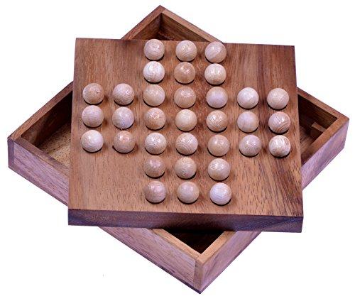 LOGOPLAY Solitär - Solitaire - Denkspiel - Knobelspiel - Geduldspiel - Logikspiel aus Holz mit Kugeln