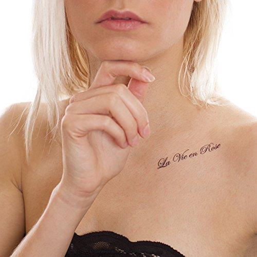 1 x La Vie Schriftzug Tattoo Karte - 3 französische Zitate in Schwarz (1)