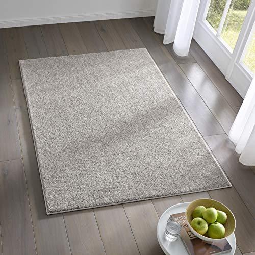 Teppich Wölkchen Kurzflor Teppich I Flauschige Flachflor Teppiche fürs Wohnzimmer, Esszimmer, Schlafzimmer oder Kinderzimmer I Einfarbig I Grau - 80 x 150