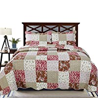 YESHOME Printed Quilt Set Patchwork Decorative Bedspread Coverlet - Full/Queen 90