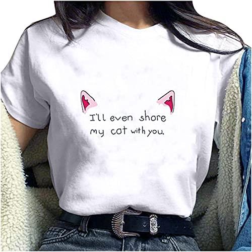 Camiseta de manga corta con diseño de orejas de gato, cuello redondo, informal, básica, para adolescentes y mujeres Blanco M