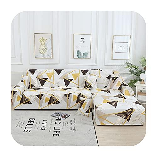 Funda elástica de sofá a cuadros para sofá de esquina seccional para sala de estar 1/2/3/4 Funda en forma de L Need Buy 2Pieces-Color14-2 Seater145-185cm1PC
