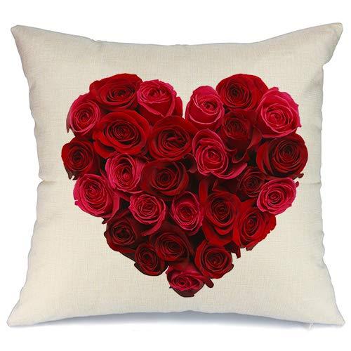 AENEY A176 - Funda de almohada de San Valentín para sofá o sofá (45,7 x 45,7 cm), diseño de rosas rojas