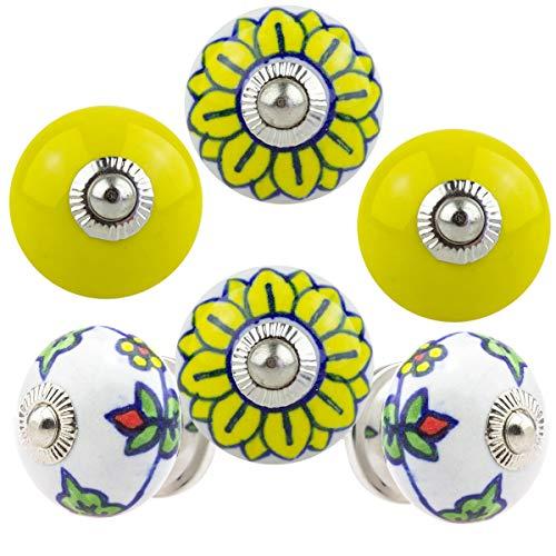 Pomello per mobili, set da 6 pezzi, giallo 091GN con motivo a cerchi e rosette – Jay Button, in ceramica dipinta a mano, per armadio, cassetto, comò