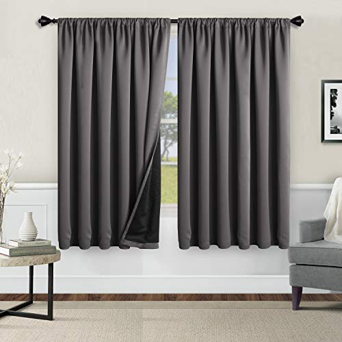 WONTEX 100% Thermal Blackout Curtains for Bedroom - Winter Insulating Rod Pocket Window Curtain Panels, Noise Reducing and Sun Blocking Lined Living Room Curtains, Grey, 52 x 54 inch, Set of 2