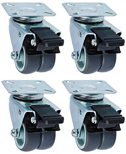 com-four® 4 Lenkrollen zum anschrauben - Möbel Lenkrollen mit Schwenklager, Tischrollen - Schrankrollen für Möbel (004 Stück - 50mm 400kg Doppelrolle)