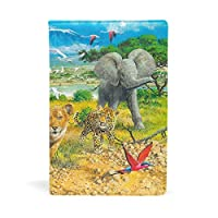 ブックカバー 文庫 a5 皮革 レザー アフリカの動物の子供 文庫本カバー ファイル 資料 収納入れ オフィス用品 読書 雑貨 プレゼント