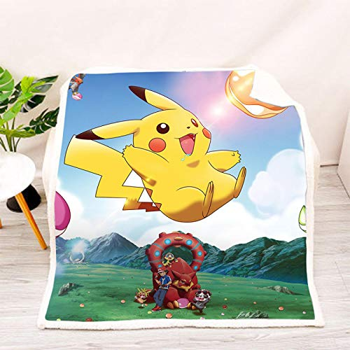 YKOUT 150X200Cm Anime Pokemon Gedruckt Kapuze Tragbare Decke, Weicher Warmer Umhang Frauen Männer Kinder Cosplay Geschenk