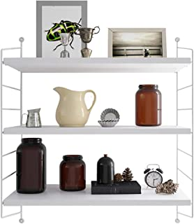 RANK 3-Tier Display Wall Shelf Adjustable Storage Rack Wall Mounted Floating Shelf (White, 24