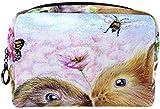 Monedero Kiss Hare Bunny Rabbit Mariposa Patrón de Pintura Bolsa de cosméticos Bolsa de cosméticos para Damas Bolsa de Asas cosmética para el Cuidado de la Piel Bolsa de Asas con Cremallera