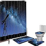 Juego de cortinas baño Accesorios baño alfombras Telescopio Galaxy en Valle Bajo Noche Estrellada Cielo Vía Láctea Atmósfera Galaxia Astronomía Alfombrilla baño Alfombra contorno Cubierta del inodoro