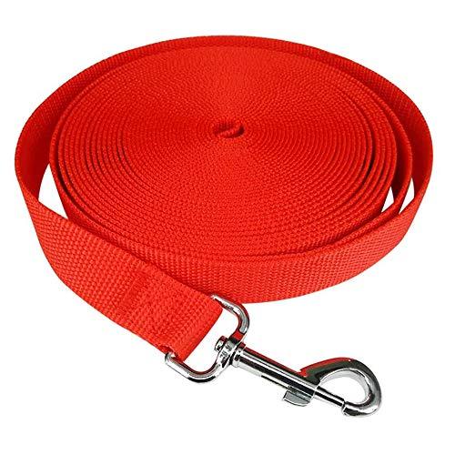 iNeith Correa de entrenamiento para perros para camping, seguimiento de entrenamiento, obediencia, patio, 10 m de largo, nailon (rojo)