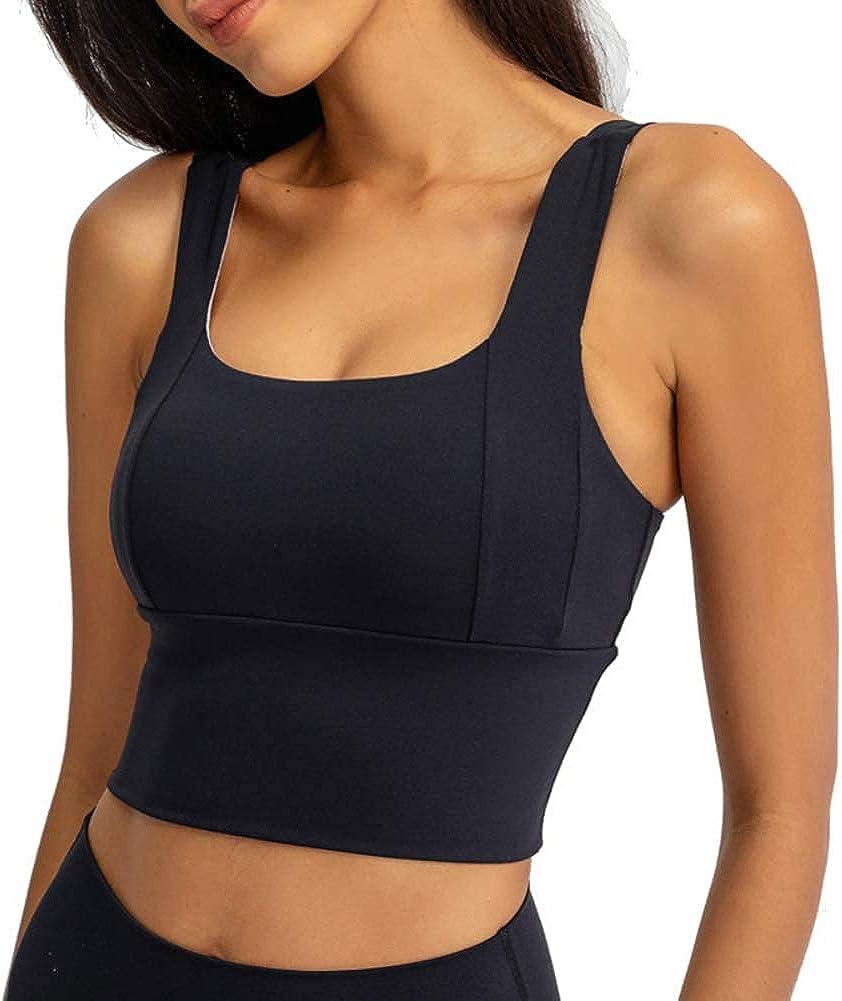 IHOT Women's Sports Bra Crop Tank Padded Yoga Bra Full-Support Tops for Workout Fitness Running Black L