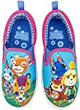 Animal Crossing Girl's Shoes, Isabelle Twin Gore Classic Canvas Slip-On Sneakers, Youth Size: Girl's 2 Pink/Blue
