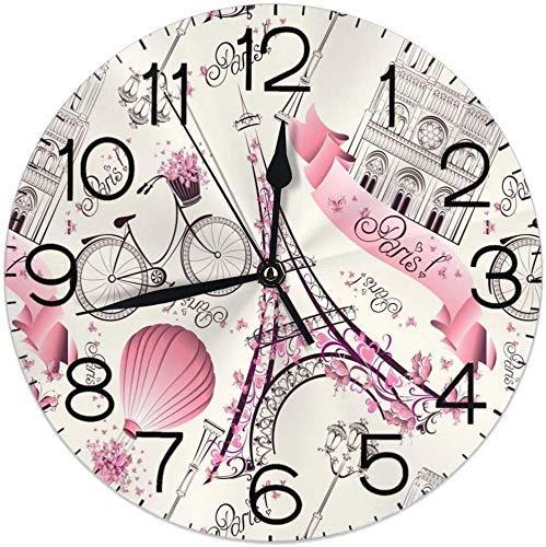 Reloj de pared para bicicleta con torre Eiffel y silencioso, funciona con pilas, 9,5 pulgadas, para estudiantes, oficina, escuela, hogar, reloj decorativo