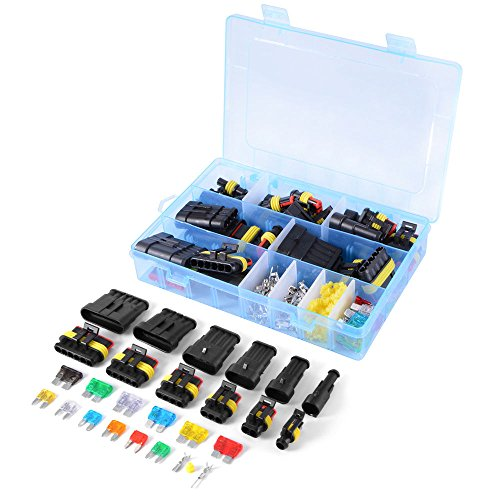 WINGONEER coche impermeable conexión eléctrica terminal 1/2/3/4/5/6 Pin Way + fusibles - 240PCS