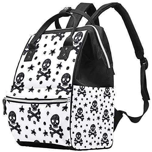 WJJSXKA Zaini Borsa per pannolini Laptop Notebook Zaino da viaggio Zaino da escursionismo per donna Uomo - Skull Sketch bianco e nero