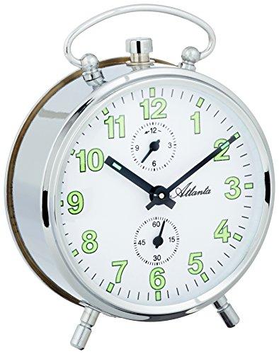 Atlanta 1063-19 Sveglia analogica a carica meccanica, colore argento