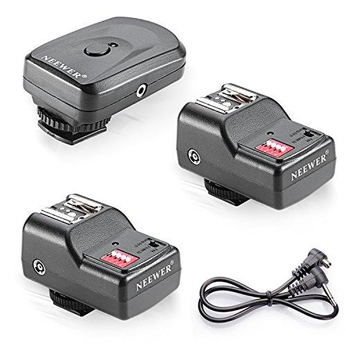 Neewer 10036052, Trigger radio Speedlite FM con telecomando FM a 16 canali con ricevitore PC da 2,5 mm per unità flash con Hot Shoe universale, Nero