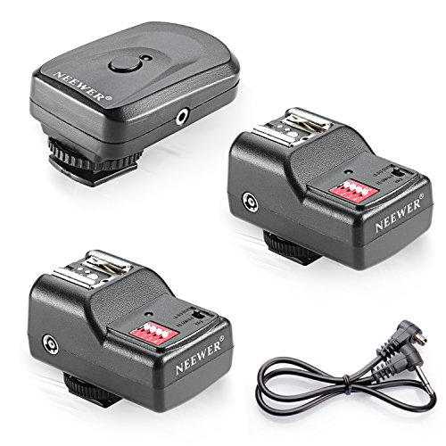 Neewer 16 canales inalámbricos de flash remoto Speedlite, FM Radio de disparo con 2.5mm...