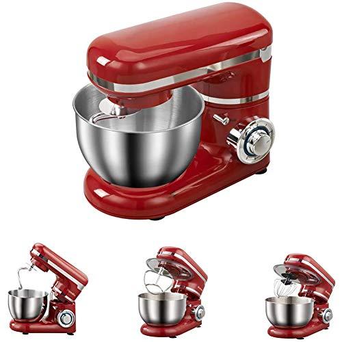 YLEI Küchenmaschine 1200W Knetmaschine Rührmaschine mit 4L Edelstahl-Rühlschüssel, Rührbesen, Knethaken, Schlagbesen und Spritzschutz, 6 Geschwindigkeit Geräuschlos Teigmaschine