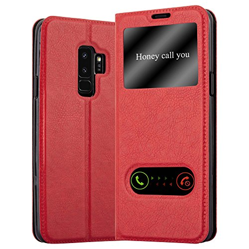 Cadorabo Custodia Libro per Samsung Galaxy S9 PLUS in ROSSO ZAFFERANO - con Funzione Stand e Chiusura Magnetica - Portafoglio Cover Case Wallet Book Etui Protezione