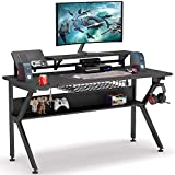 Tribesigns Ergonomic Gaming Desk with Monitor Stand, 47 inch K-Shaped Computer PC Gaming Desk with Storage Shelf, Game Table Gamer Workstation with Cup Holder, Headphone Hook for Home Office (Black)