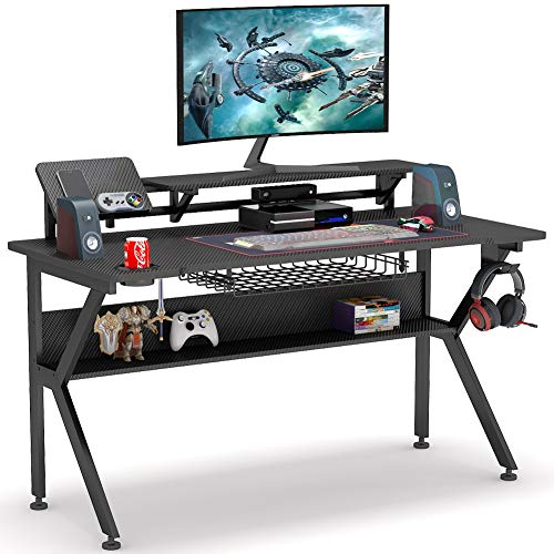 Tribesigns Ergonomic Gaming Desk with Monitor Stand, 47 inch K-ShapedComputerPCGamingDeskwithStorageShelf,GameTableGamer Workstation with Cup Holder, Headphone Hook for Home Office (Black)