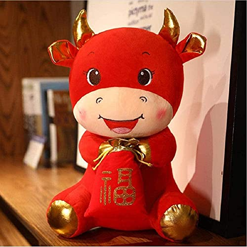 Mascota del año del Buey, Lindo Ganado de Peluche con Bolsa de la Suerte, Ternero en Traje Tang, Juguetes Blandos, decoración de Fiesta de Año Nuevo, Regalo 32Cm