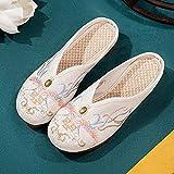 ypyrhh Cómoda playa de piscina, libélula de arena plana de Baotou, zapatos de mujer bordados de perla-blanco_36, sandalias planas antideslizantes de peso ligero