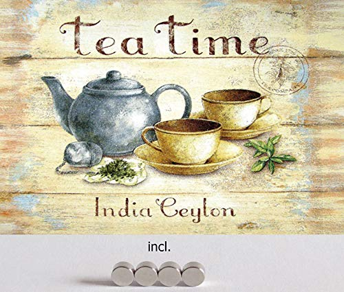Metalen bord 20 x 30 cm gebogen, incl. 4 magneten Tea Time India Ceylon thee decoratie geschenk schild vintage