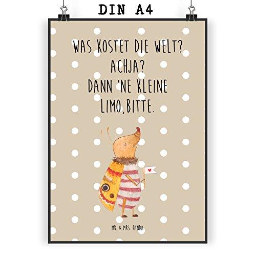 Mr. & Mrs. Panda Poster DIN A4 Nachtfalter mit Fähnchen - Nachtfalter, Käfer, Spruch lustig, Spruch witzig, süß, niedlich, Küche Deko, was kostet die Welt Poster, Wandposter, Bild, Wanddeko, Geschenk