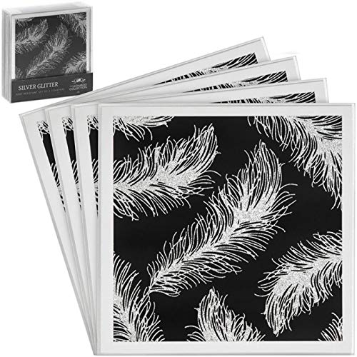 Set Of 4 Black Glitter Feather Print Mirrored Coasters Table Dining Mat Coaster
