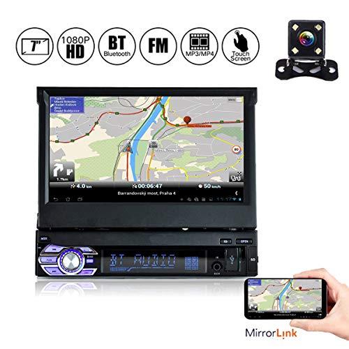 YUGUIYUN Radio de Coche, 1 DIN Autoradio 7' Pantalla Táctil Retráctil Bluetooth, Mirror Link FM MP3 SD USB Autoradio Bluetooth Mano Libre Stéréo con Cámara de Visión Trasera 9601