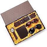 Sgxiyue Relojes de los Hombres Set Negro + Brown Dos Gafas de Sol Moda Hombre Cuarzo Reloj de Pulser...