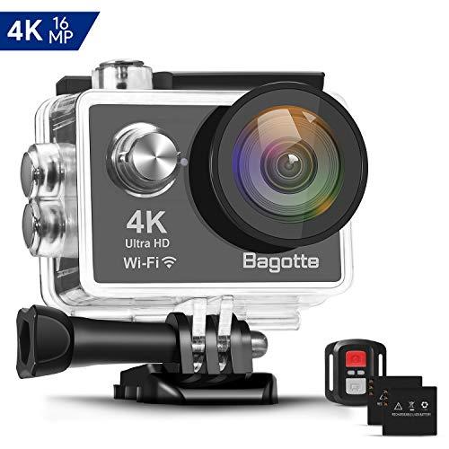 Bagotte 4K Action Cam Wi-Fi 16MP Impermeabile 30M Immersione Sott'Acqua 30fps Action Camera con Schermo 2 Pollici 170°Grandangolare Camera con 2 1050mAh Batterie,Telecomando 2.4G e Kit Accessori