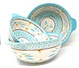 Temp-tations S/3 Bowls w/Tab Handles for Mixing or Serving, Nesting 4,3 & 2 Quart (Old World Teal)