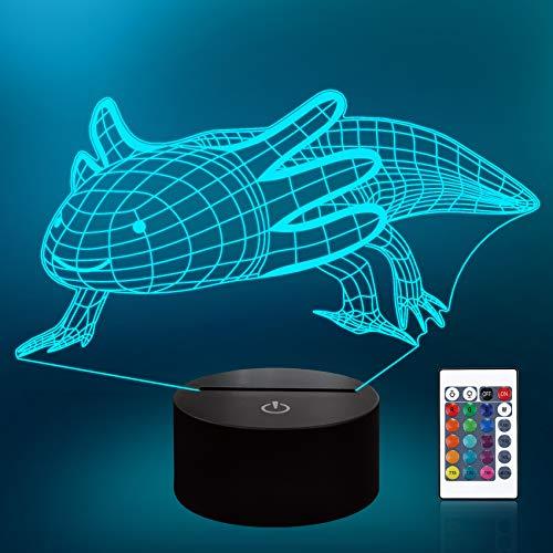 CooPark Ainimal Salamander Night Light, lámpara de ilusión 3D, 16 colores cambian con control remoto, decoración de guardería como regalo de cumpleaños navideño para niños y niñas