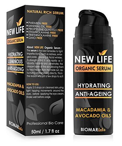 NEW LIFE Bio Sérum Visage Anti-Âge Hydratant Organic Produit Naturel et Vegan Soin de la Peau - Anti-rides et Anti-taches 50ml Flacon by BIOMAR