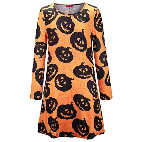 Vrouwen Halloween Pompoen Print Lange Mouw Party Swing Mini Jurk, Dames Cosplay Halloween Kleding Pompoen Rokken