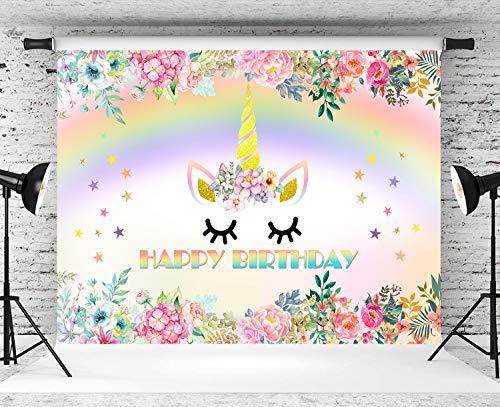 BINQOO Fondo de unicornio de 7 x 5 pies con diseño de unicornio, color rosa y flores de unicornio arcoíris para fiestas de cumpleaños