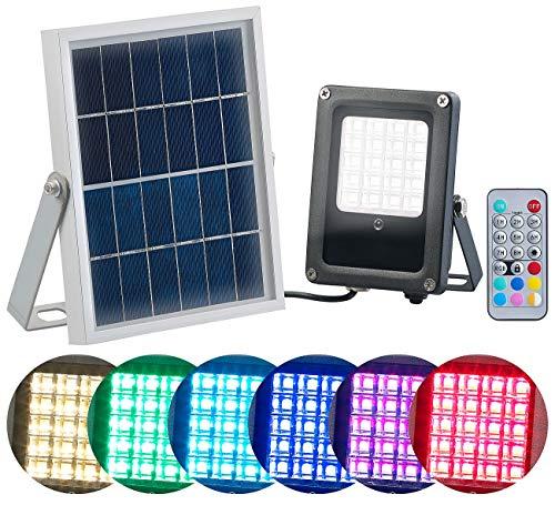 Luminea Solarstrahler: Solar-LED-Fluter für außen, RGBW, 10 Watt, mit Fernbedienung & Timer (Solar Strahler mit Fernbedienung)