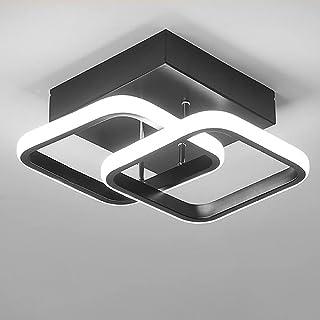 Lustre Plafonnier 2 LED Rectangulaire Moderne 22W Lumière Blanche Froide 6000K (Noir/Blanc) Plafonnier pour Couloir Cuisin...