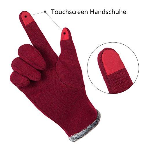 GLOUE Warm Winter Handschuhe Damen Touchscreen Handschuhe Kaschmir Drinnen Draußen Fahrradhandschuhe Motorradhandschuhe Mountainbike Handschuhe - 2