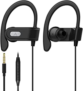 Avantree E171 Sports Earbuds Wired With Microphone, Sweatproof Wrap Around Earphones With Over Ear Hook, in Ear Running Headphones For Workout Exercise Gym Compatible With iPhone, Cell Phones - Silver