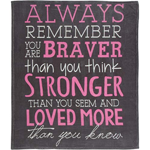 Breast Cancer Awareness Throw Blanket  Always Remember You are Braver - Inspirational Gifts for Women to Get Well Soon - Girls Room Decor for Moms, Daughters and Sister Gifts  50 x 60 Soft Fleece