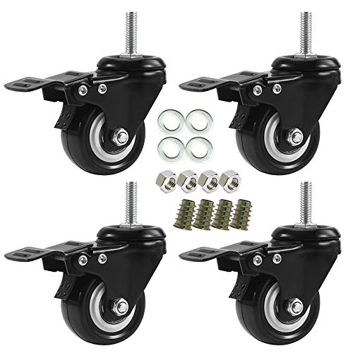 1.5 Inch Stem Casters, DICASAL Double Brakes Black PU Imperial Inch Screw Thread 360° Swivel Caster Wheels for Furture Carts DIY Stands 4 Pack